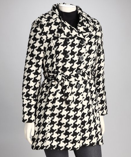 Black & White Houndstooth Plus-Size Coat