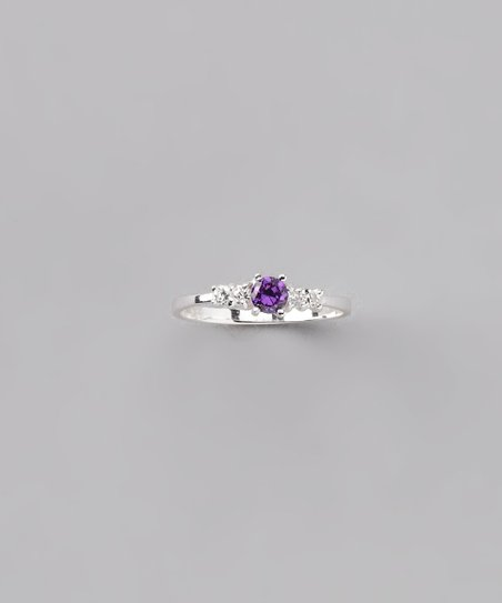 Purple & Sterling Silver Baby Ring