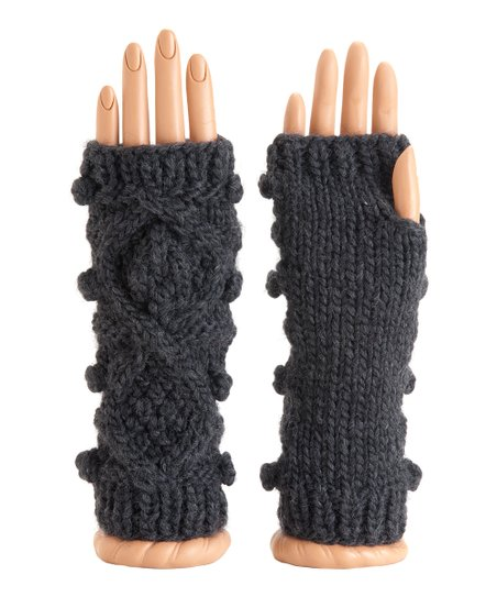 Charcoal Lotta Wool-Blend Fingerless Gloves