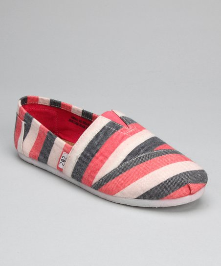 Coral Stripe Slip-On Shoe