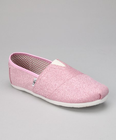 Pink & White Glitter Slip-On Shoe