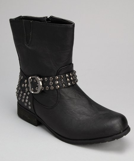 Black Stud Buckle Boot