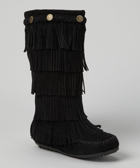 Black Tiered Fringe Boot