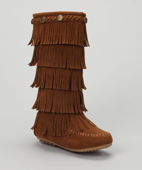 Tan Tiered Fringe Boot