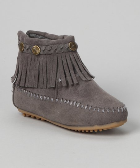 Gray Fringe Ankle Boot