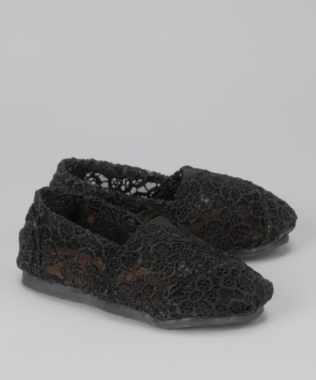 Black Crocheted Slip-On Shoe