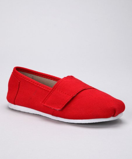 Red Canvas Adjustable Slip-On Shoe