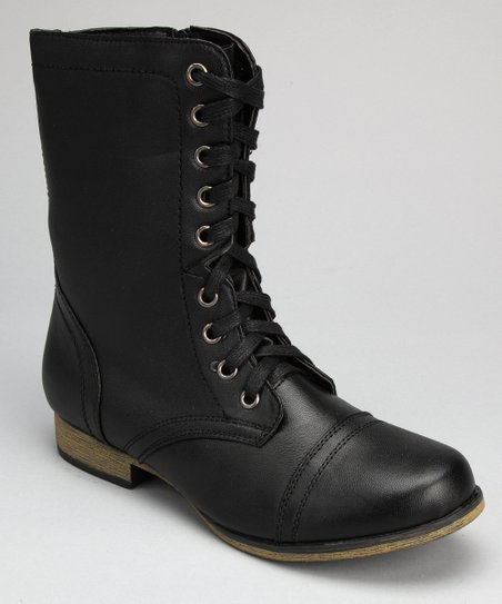 Black Glossy Lace-Up Boot