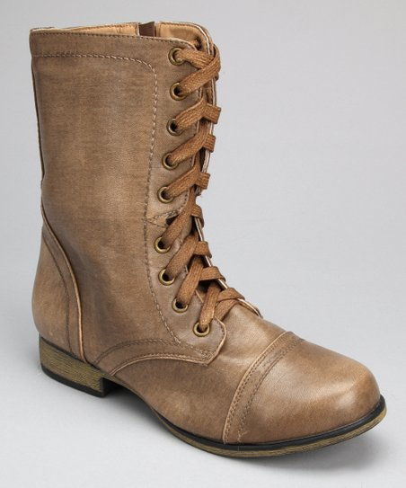 Taupe Burnished Lace-Up Boot