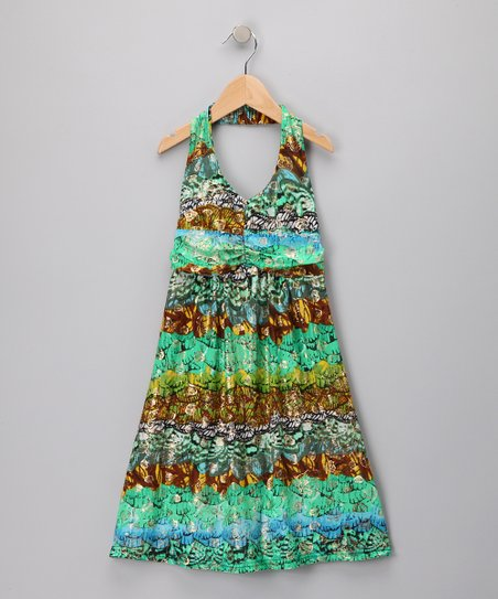 Green Seashells Halter Dress