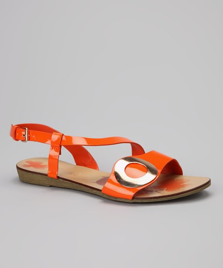 Orange Gloss Circle Sandal