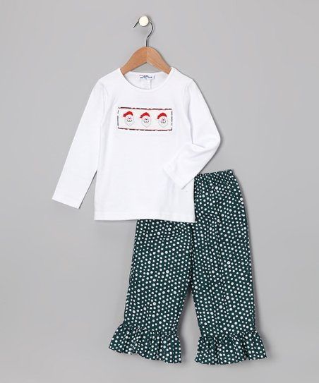 White Santa Tee & Ruffle Pants - Infant