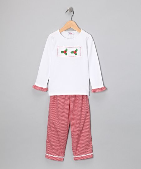 White Holly Ruffle Tee &amp; Red Pants - Infant, Toddler &amp; Girls