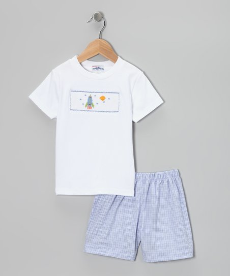 White Spaceship Smocked Tee &amp; Blue Shorts - Infant
