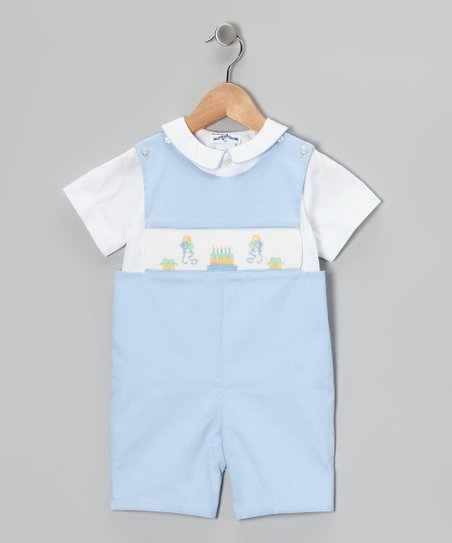 White Polo & Blue Birthday Smocked John Johns - Infant & Toddler