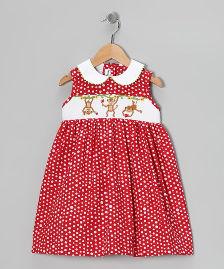 Red Polka Dot Monkey Smocked Dress - Infant & Toddler