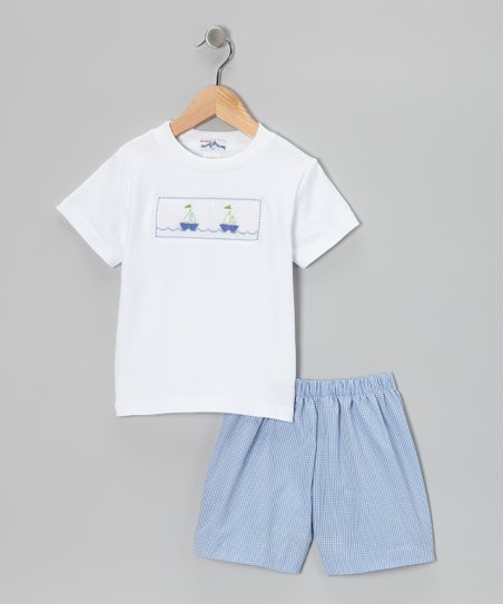 White Sailboat Smocked Tee & Blue Shorts - Infant & Toddler