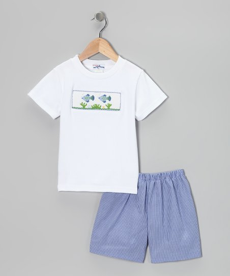 White Fish Smocked Tee & Blue Shorts - Infant