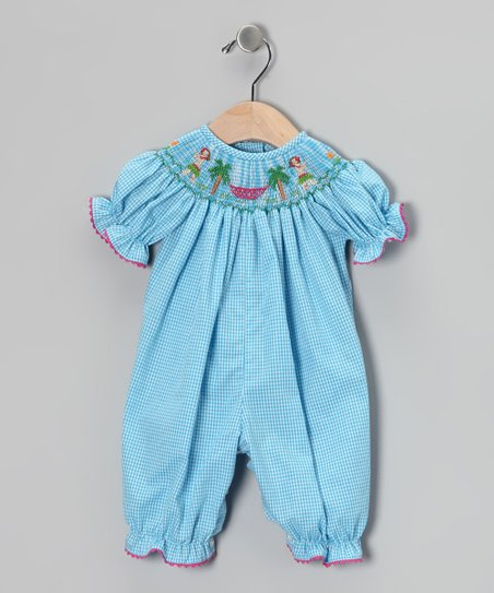 Blue Hula Smocked Playsuit - Infant