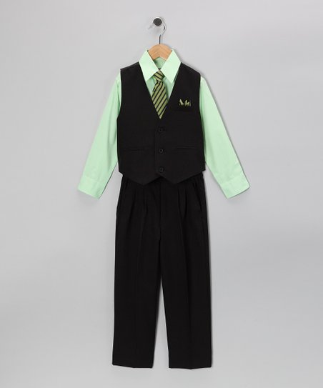 Black & Lime Five-Piece Vest Set - Infant, Toddler & Boys