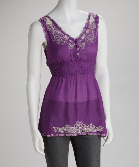 Purple Embroidered Blossom Sleeveless Top