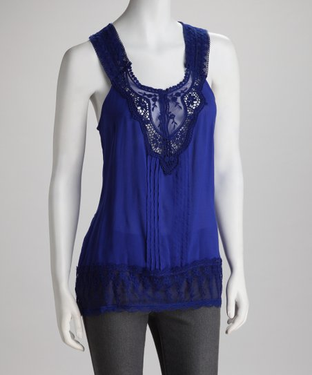 Lapis Floral Lace Tank
