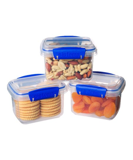 Blue 13.5-Oz. KLIP IT Container - Set of Three