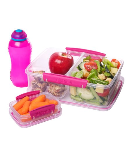 Pink Three-Piece Lunch Box Container Set
