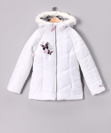 Skechers White Butterfly Puffer Jacket