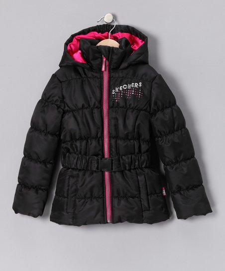 Skechers Black Belted Puffer Coat