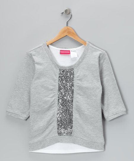 Light Gray Sequin Tank &amp; Sweatshirt