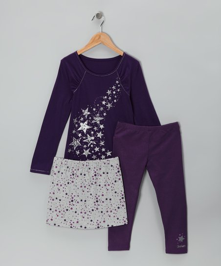 Purple & Gray Star Skirt Set