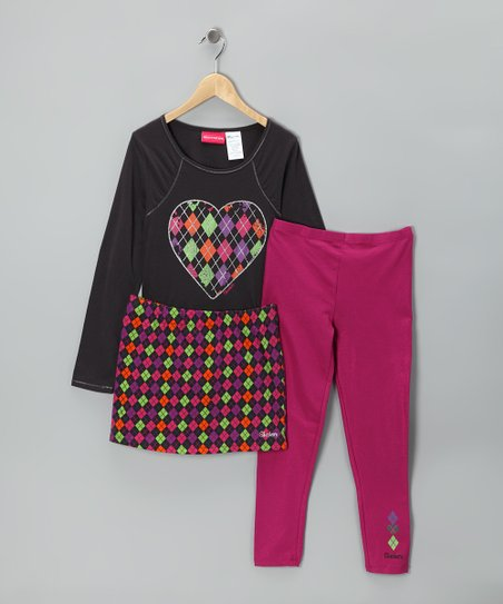 Black & Pink Heart Skirt Set