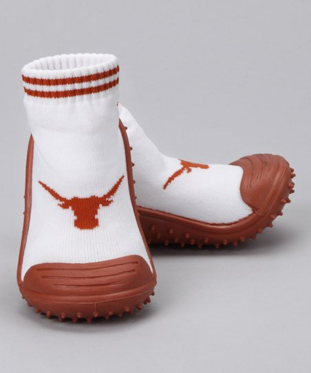 White &amp; Orange Texas Gripper Shoe - Kids