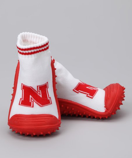 White &amp; Red Nebraska Gripper Shoe - Kids