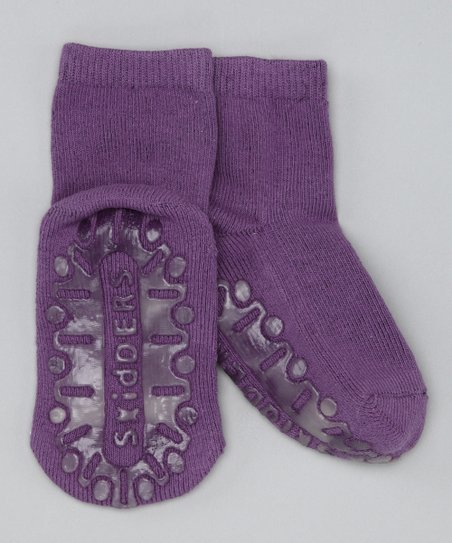 Eggplant Crystal Gripper Socks