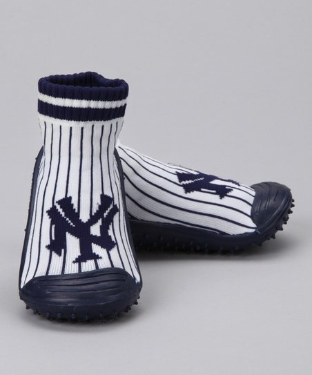 New York Yankees White & Blue Gripper Shoe -  Kids