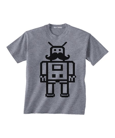 Heather Gray Mustache Tee - Toddler & Boys