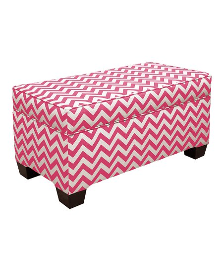 Skyline Furniture Candy Pink Zigzag Storage Bench