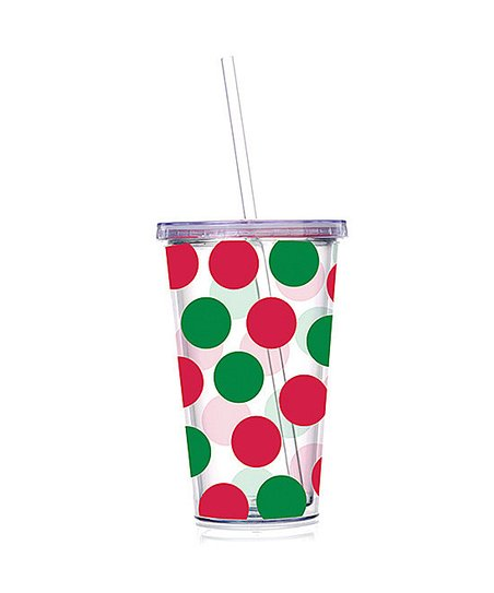 Red &amp; Green Polka Dot 24-Oz. Tumbler