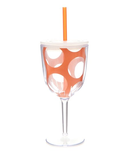Orange Dot 13-Oz. Wine Glass & Straw
