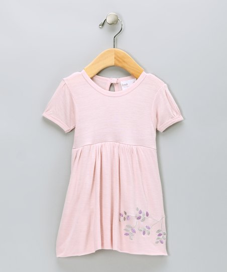 Pink Branch Embroidered Organic Bubble Dress - Infant