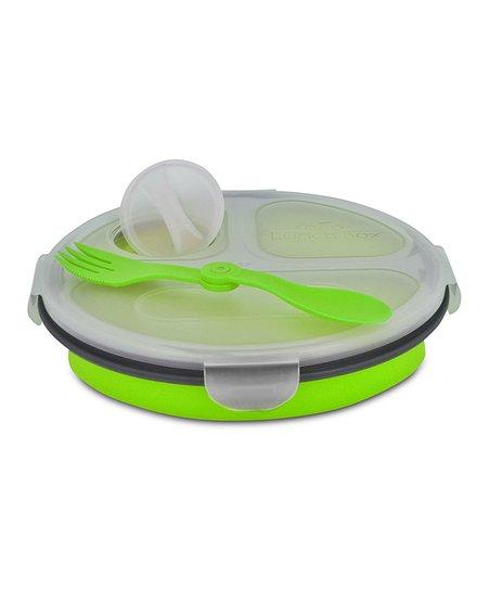 Green Triple-Compartment Round Eco Lunch Box
