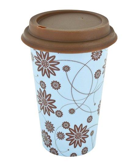 Blue & Brown Floral 12-Oz. Ceramic Eco Cup