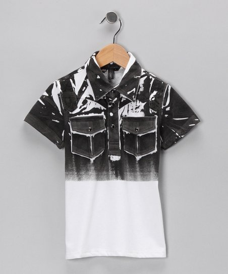 Black & White Distressed Pocket Shirt - Boys