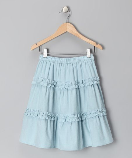 Light Blue Corduroy Ruffle Skirt - Toddler &amp; Girls