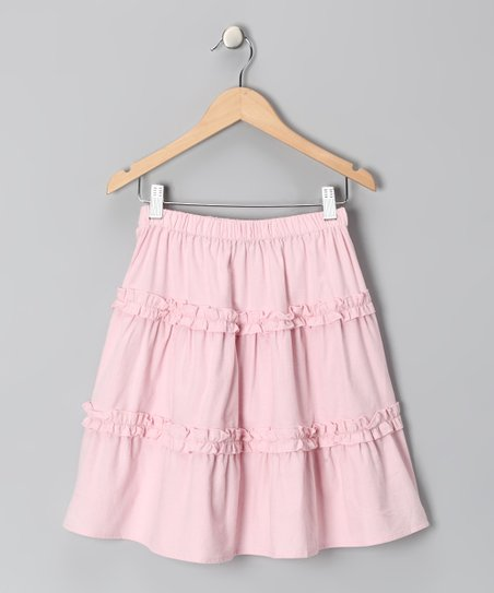 Light Pink Corduroy Ruffle Skirt - Toddler & Girls