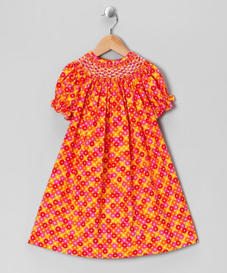 Orange Rose Geometric Bishop Dress - Infant