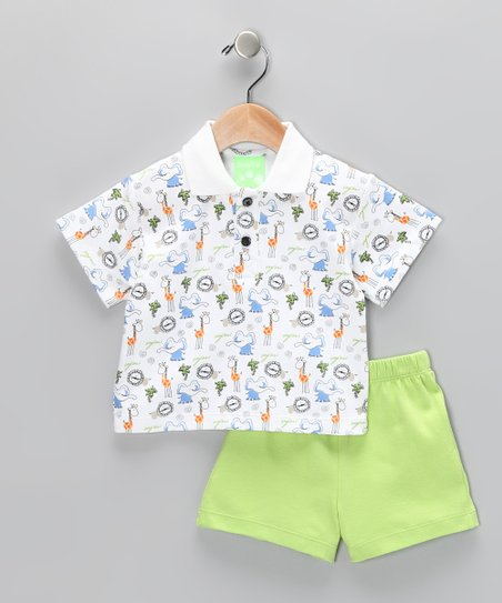 White & Lime Safari Polo & Shorts - Infant