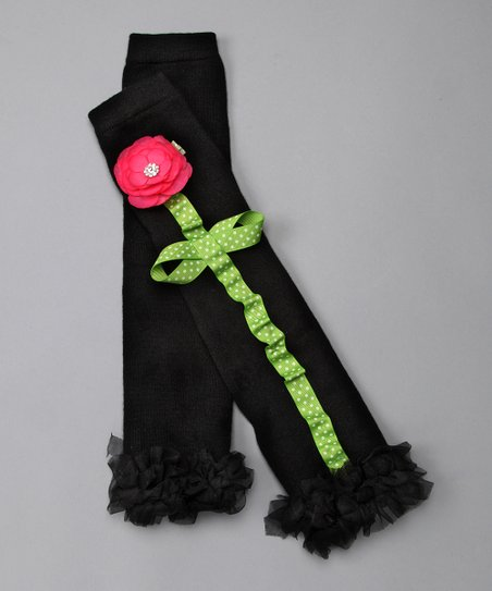 Black & Hot Pink Peony Flower Leg Warmers